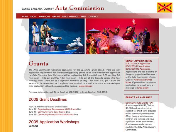 Santa Barbara County Arts Commission webpage