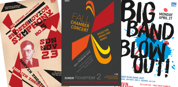 Concert posters for Santa Barbara City College, 11x17 inches